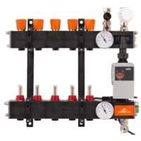 A4960838Comfort Line 4-groeps kunststof LTV vloerverwarmingsverdeler met flowmeters