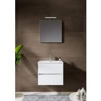 12345010 Comfort Line York Slim compact badmeubel 60 cm met wastafel, 2 laden softclose hoogglans wit met spiegel en opbouwlamp
